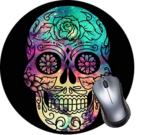 Gaming Mouse Pad,Round Mousepad with Non-Slip Rubber Base for Laptop Computer Desktop,Pink Rose Suger Skull Game Mouse mat