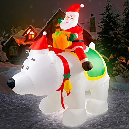 Rocinha 7.9 Feet Christmas Inflatable Polar Bear with Santa Claus, Inflatable Blow up Santa Claus Riding The Polar Bear Built-in LED Lights for Christmas Indoor or Outdoor Decoration