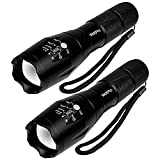 LED Tactical Flashlight 2 Pack, WdtPro Super Bright Compact LED Flashlights with 5 Modes, Zoomable and Water Resistant for Camping Emergency Hiking