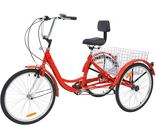 US Fast Shipment Adult Tricycles 7 Speed, Adult 24 Inch Mountain Trikes, 3 Wheel Bikes Bicycles Cruise Trike with Rear Shopping Basket for Seniors, Women, Men