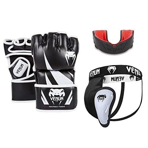 Venum Challenger V.06 MMA Set, Schwarz, Boxhandschuhe Medium + Tiefschutz L