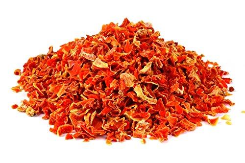 Bio Karotten Stückchen getrocknet 1kg Fairtrade Möhren Rüben Gemüse, Rohkost, für Smoothies, Suppe, Salat und als Snack, aromatisch süßlich, gelblich/rötlich/bräunlich 1000g