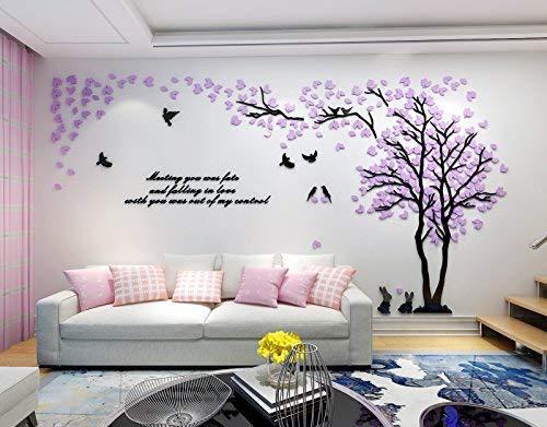 Asvert 3D Wandtattoo Shrinkable Acryl Wandaufkleber Wand Dekoration TV Sofa Hintergrund Deko Stereo Sticker Lila Blätter - Muster 2
