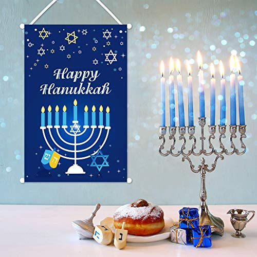 CiyvoLyeen Happy Hanukkah Hanging Door Sign Banner Hanukkah Party Decoration Chanukah Welcome Banner for Hanukkah Festive Day Indoor Outdoor Decor