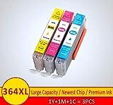 THQC Compatible Ajuste Cartucho de Tinta for HP364 364 XL for 3070A HP 3522 4620 4622 3520 5511 5512 5514 5515 5520 5522 5524 6515 (Color : 3pcs C M Y)