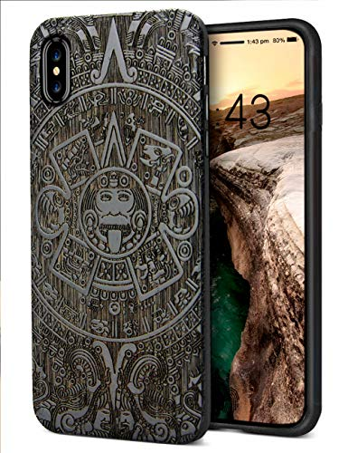 YFWOOD Compatible for iPhone Xs Wood Case, Real Wood Engraved Totem Slim Anti-Slip Grip Scratch Resistant Hybrid Thin Protective Cover Case for iPhone X/XS