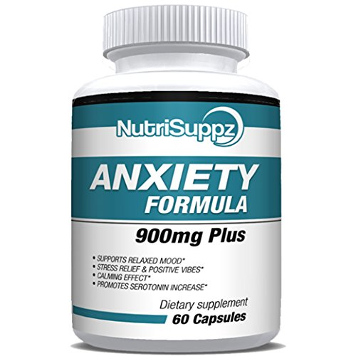 Anti Anxiety Formula 900mg With Gaba, L-Theanine, 5-HTP, Ashwagandha, Magnesium, St. John's Wort, Chamomile - Positive Mood, Relaxed Mind, Promote Higher Serotonin, Live In Peace & Happiness