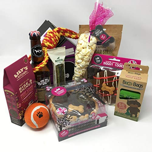 Pet Presents Dog Birthday Cake Gift Hamper with Doggy Beer