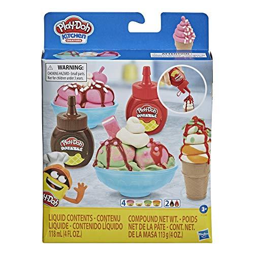 Play-Doh F1190 0 Kitchen Creations Eisbecher Spielset für Kinder ab 3 Jahren mit 2 Drizzle Soßen und 4 Dosen klassischen Farben