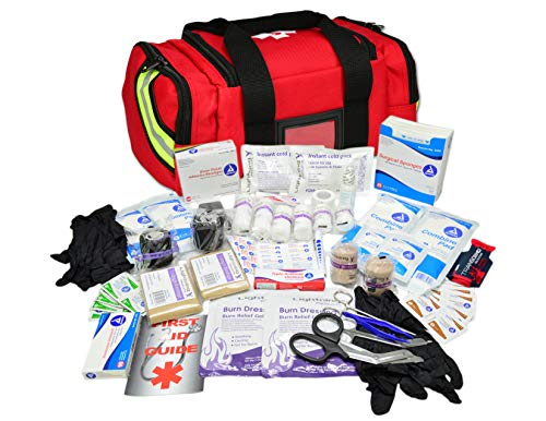 Lightning X Value Compact Medic First Responder EMS/EMT Stocked Trauma Bag w/Basic Fill Kit A - RED