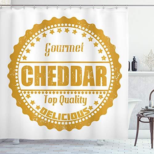 ABAKUHAUS Kaas Douchegordijn, Gourmet Cheddar Rubber Stamp, stoffen badkamerdecoratieset met haakjes, 175 x 200 cm, Dark Yellow and White