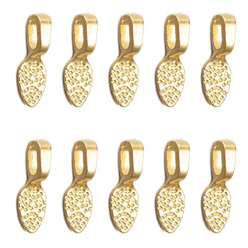 100pcs Alloy Gold Small Pendant Bails Glue on Flat Pad Bails Oval Scrabble Glue On Earring Bails Small Spoon Shape for Pendant Making Scrabble Or Glass Cabochon Tiles DIY Jewelry 15x5mm (C022)