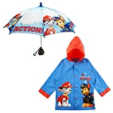 Nickelodeon Boys Paw Patrol Character Slicker and Umbrella Rainwear Set, for Toddler and Little, Blue, Age 4-5