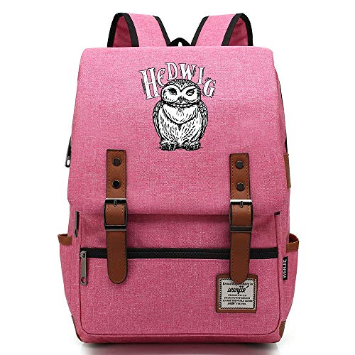 Hedwig Backpack,Hogwarts College Potter Rucksack, Casual Fashion Student Bag Large Pink
