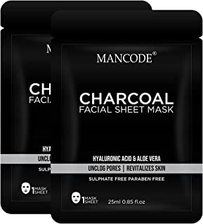 Mancode Activated Charcoal Facial Sheet Mask for Men - 25ml | Detoxifying | Revitalizes Skin | Unclog Pores | Hyaluronic A...
