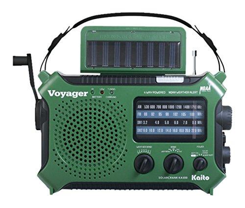 Kaito KA500GRN 5-Way Powered Emergency AM FM SW Weather Alert Radio, Green