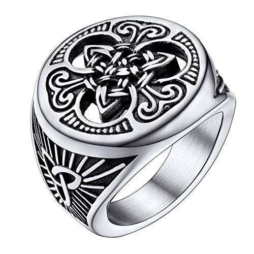 U7 Enamel Black Stainless Steel Irish Knot Jewelry Statement Celtic Knot Signet Ring for Men Women
