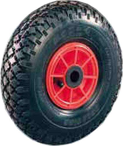 Rueda neumática, diámetro 260 mm, capacidad 125 kg, disco de plástico, cubierta con cámara de aire, ruedas para carros de transporte manual para cargas medianas. Ruedas con anillo de goma. Sector industrial.
