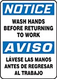 Accuform SBMRST813VP Plastic Spanish Bilingual Sign, Legend 'NOTICE WASH HANDS BEFORE RETURNING TO WORK/AVISO LAVESE LAS MANOS ANTES DE REGRESAR AL TRABAJO', 14' Length x 10' Width x 0.055' Thickness, Blue/Black on White