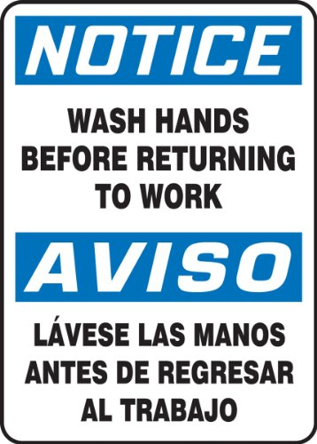"Accuform SBMRST813VP Plastic Spanish Bilingual Sign, Legend ""NOTICE WASH HANDS BEFORE RETURNING TO WORK/AVISO LAVESE LAS MANOS ANTES DE REGRESAR AL TRABAJO"", 14"" Length x 10"" Width x 0.055"" Thickness, Blue/Black on White"