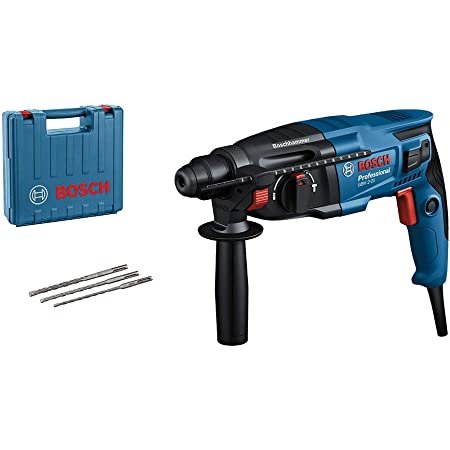Bosch Professional Bohrhammer GBH 2-21 (mit SDS plus, inkl. 3x Drill Bit SDS plus, (6/8/10 mm), Zusatzhandgriff, Maschinentuch, Tiefenanschlag, im Handwerkerkoffer)