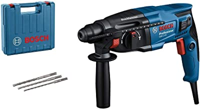 Bosch Professional Bohrhammer GBH 2-21 (mit SDS plus, inkl. 3x Drill Bit SDS plus, (6/8/10 mm), Zusatzhandgriff, Maschinen...
