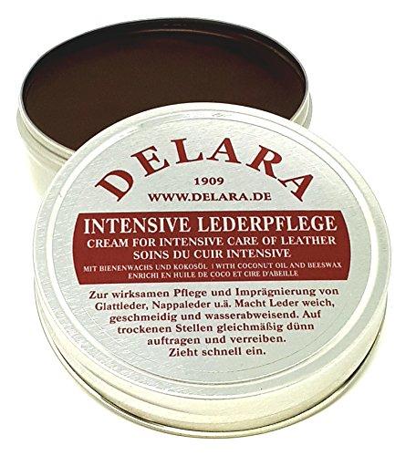 DELARA Intensive Lederpflege, braun, 75 ml - Imprägniert und schützt Leder sehr wirksam. Neue Rezeptur mit hochwertigem Kokosöl und Bienenwachs - Made in Germany
