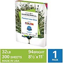 Hammermill Premium Laser Gloss 32lb Copy Paper, 8.5 x 11, 1 Pack, 300 Total Sheets, Made in USA, Sustainably Sourced From American Family Tree Farms, 94 Bright, Acid Free, 163110R