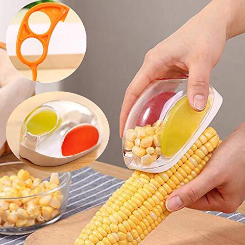 Corn Stripper Corn Peeler No Mess Corn Stripper Cutter Shaver Cob Remover Kerneler Container Corn Cutter, Corn Cob, Corn Shucker Remover With One Orange Opener Peeler
