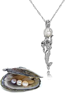 RSTBABY Pearl Necklace Lotus Pendant Locket Pearl Necklaces Pearls in Oyster Kit Set Women Wish Gift
