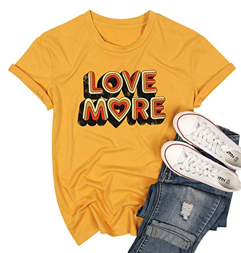 MNLYBABY Love More Short Sleeve T Shirt Summer Letters Print Casual Holiday Graphic Tees Tops for Women Yellow