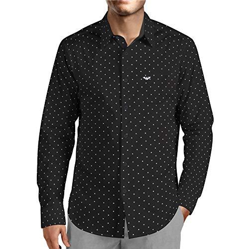 Wanwiro Men's Polka Print Dotted 100% Cotton Full Sleeve Slim Fit Shirt (XL) Black