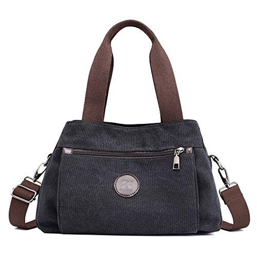 Hiigoo Women's Casual Totes Bag Shoulder Bag Canvas Handbags 3-open Crossbody Bag Messenger Bag (Black)