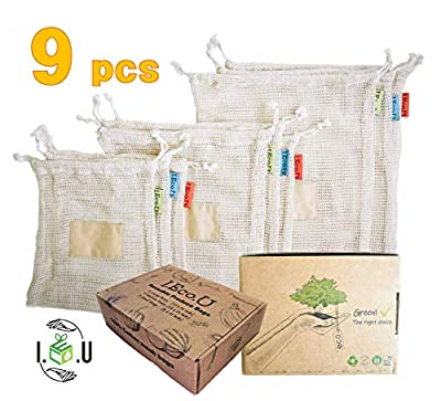 I.Eco.U Premium Reusable Produce Bags |Organic Cotton |Mesh Vegetable Bags |Biodegradable |Recylable |Washable |Both-side Drawstring |Tare Weight on Label tag |Grocery Shopping & Storage | Set of 9