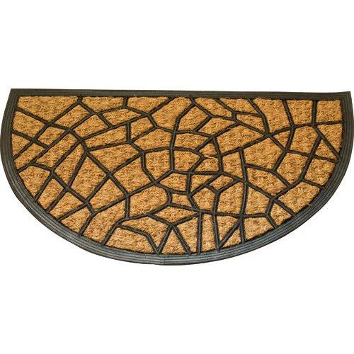 MAURER Felpudo de fibra de coco y goma media luna, piedras nuevas, 45 x 75 cm