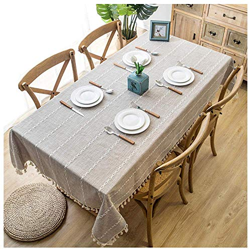 SHBV Rectangular Tassel Tablecloth Striped Cotton and Linen Tablecloth 115x275cm Washable Kitchen Table Cloth Easy Care Dining Party Decorative Tablecloth Beige