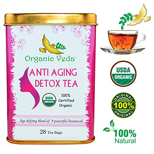 Organic Moringa ANTI AGING Tea (28 Potent Tea Bags). USDA Certified Organic. Rich in Antioxidants and Daily Needed Essential Nutrients. No Artificial Flavors or Preservatives. All Natural! by Organic Veda