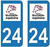 supstick 2 STICKERS AUTOCOLLANT PLAQUE IMMATRICULATION DEPT 24 Nouvelle-Aquitaine