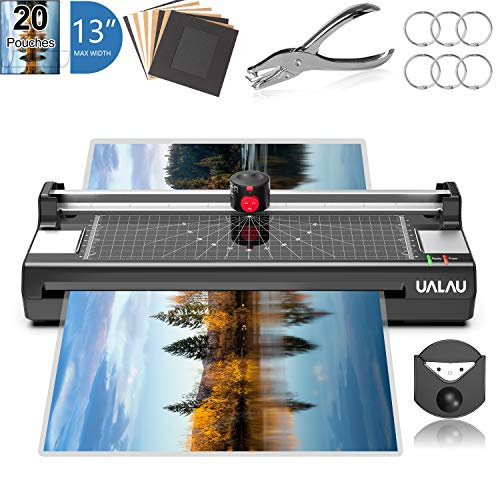 13 Inches Laminator Machine, UALAU 7 in 1 Thermal Laminator with 20 Laminating Pouches, Paper Trimmer, Corner Rounder, Photo Frame, for Home/School/Office Use