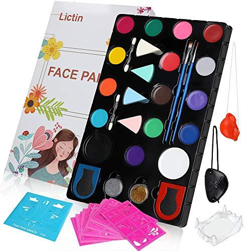 Lictin Pinturas Cara y Corporales-16 Colores+ 4 Cepillos Colores+ 4 Esponjas 2...
