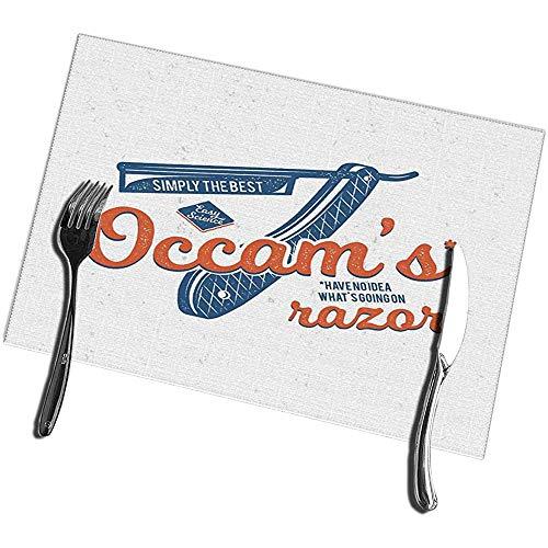 Küchentischmatten 6er-Set Vintage Science Occam Rasiermesser Prinzip Elemente Fleckenresistente Tischsets 12X18IN