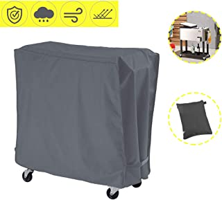 AKEfit Cooler Cart Cover Universal Outdoor 80 Quart Rolling Ice Cooler Cover,Waterproof Durable Fabric with Handles, Pool Cooler Cover,Rolling Ice Chest Cover,Party Cooler (Grey)