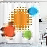 ABAKUHAUS Orange Duschvorhang, Retro bunter Entwurf, Waschbar & Leicht zu pflegen mit 12 Haken Hochwertiger Druck Farbfest Langhaltig, 175 x 220 cm, Rot-Orange & Blau