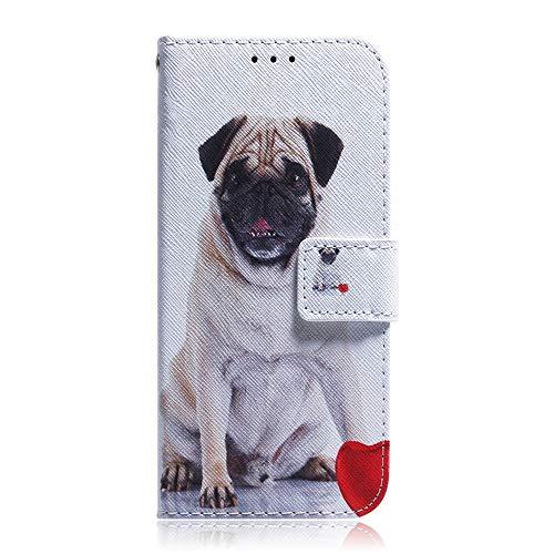 Sunrive Hülle Für Huawei Ascend G620s, Magnetisch Schaltfläche Ledertasche Schutzhülle Etui Leder Hülle Cover Handyhülle Tasche Schalen Lederhülle MEHRWEG(T Mops)