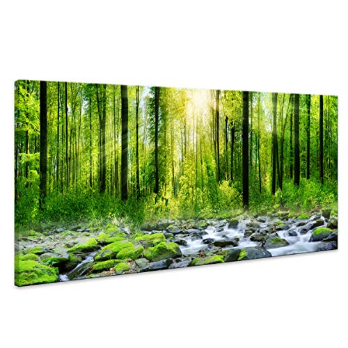 Canvas Art Decor Morning Sunrise Green Trees Landscape Sunshine Over Forest Photograph Printed on Canvas for Home Wall Decoration Wall Art for living Room Mural print Artwork Natural outdoor Picture