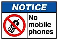 いいえ携帯電話の通知osha ansiサイン金属標識通知記号