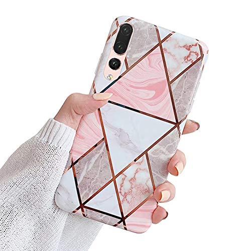 MoreChioce kompatibel mit Huawei P20 Pro Hülle,Huawei P20 Pro Hülle Marmor,Kreativ Geometrie Bling Sparkle Matt Weich Silikon Handyhülle Ultra Dünn Transparent Crystal Bumper,Grau Marmor