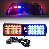 Xprite Red/Blue LED Visor Strobe Flashing Lights Interior Windshield Sunshield Emergency Warning Lights for Police Volunteer Firefighter Vehicles Trucks