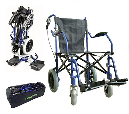 Heavy duty lightweight folding transit travel wheelchair in a bag with handbrakes ECTR04HD