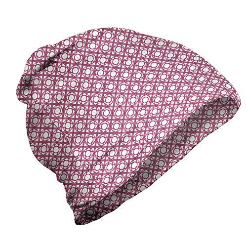 ABAKUHAUS Géométrique Bonnet Unisexe, Motif Floral et Rayures, Randonnée en Extérieur, Magenta foncé et Blanc